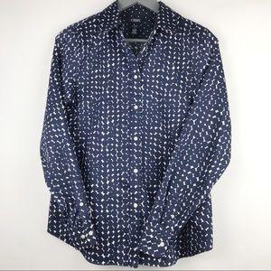 CHAPS Women's Blue & White Button Down Shirt - M